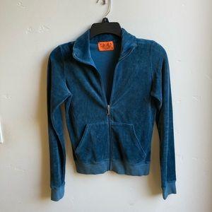 Juicy Couture velvet Jacket, teal, Front zipper